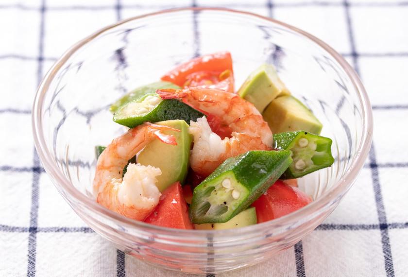 夏野菜とえびのさっぱりサラダ