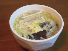 タケノコと黄ニラときくらげの卵スープ