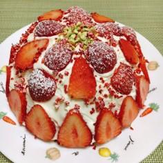 市販スイスロールで♪簡単ドームケーキ♡