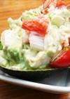アボカドと豆腐とカニかまでお手軽サラダ