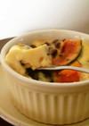 昼おやつ♪レンジでカボチャ小豆のプリン