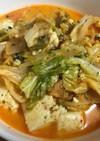キャベツと豆腐のキムチチーズ味噌炒め
