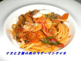 茄子と2種の肉のラグーリングイネ