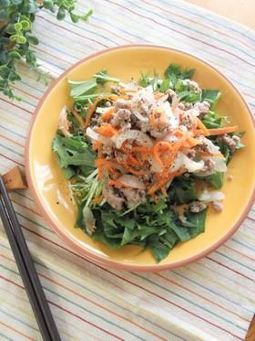 甘辛新玉そぼろと水菜のサラダ