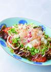 鯛の刺身 サラダ風中華ドレッシング