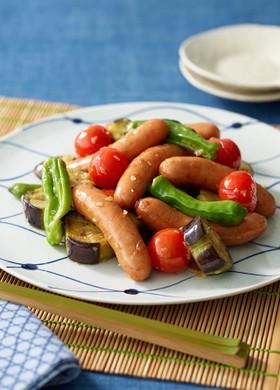 夏野菜とシャウエッセンのスタミナ煎り