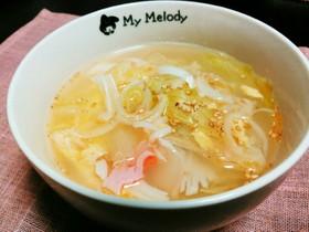 レタスとカニカマの中華たまごスープ