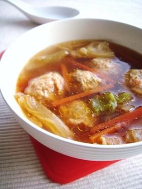 キムチ団子のお手軽スープ