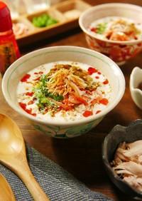 レンジでお手軽♪豆腐と豆乳の中華風スープ