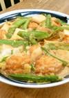 麺つゆで簡単!魚河岸あげと絹さやの卵とじ