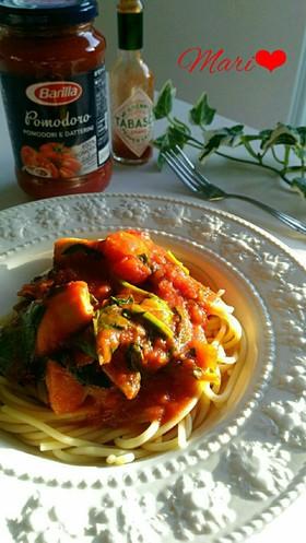 ホタテ&ほうれん草のトマトパスタ