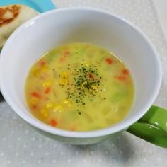 市販のコーンスープで彩りスープ