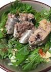 水菜と鯖水煮缶のサラダ