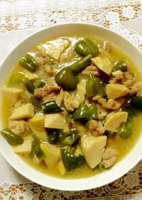 ピーマンと鶏肉のスープ煮