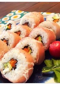 サーモンとアボカドの生ハム巻き寿司