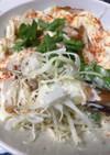 竹輪、キャベツ、バジルのサラダ