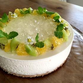 夏みかんマーマレードでレアチーズケーキ