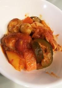 無水調理!鶏肉のトマト煮込み!