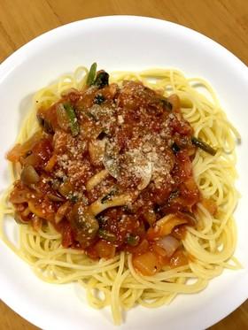 大人の給食ツナとしめじのトマトスパゲティ