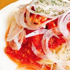 トマト缶の冷製パスタ