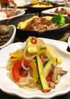 カラフル野菜と白滝のペペロンチーノ