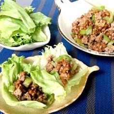 美味い♡早い 納豆ひき肉炒めのレタス包み