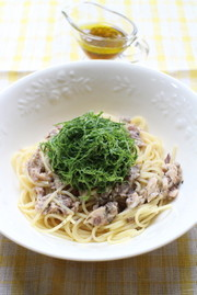 大葉とサバ缶の和えるだけスパゲッティの写真