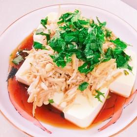 梅&麺つゆで食べる炒めたエノキde冷奴