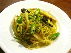 蕨のコラトゥーラ(魚醤)ソースのパスタ