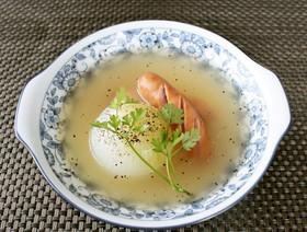 レンチン♪新たまねぎとウインナーのスープ