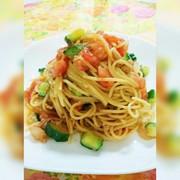 簡単★ツナトマト冷製パスタ〜味噌ニンニクの写真