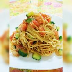 簡単★ツナトマト冷製パスタ〜味噌ニンニク
