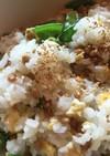 納豆と絹さやの卵まぜご飯