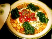 土鍋でイタリアン辛ラーメンの写真