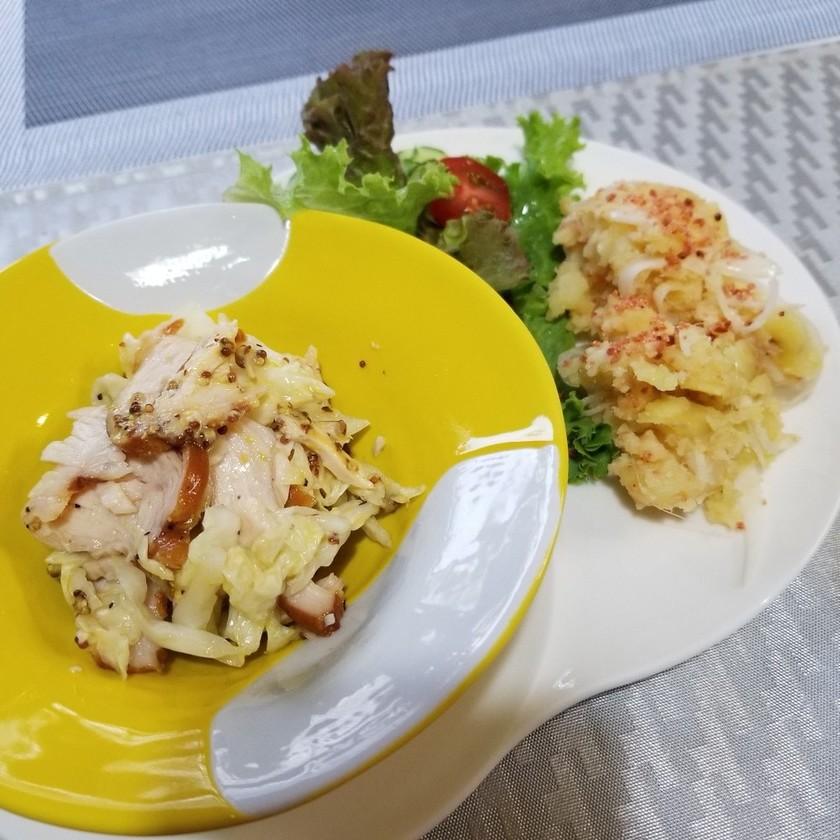 2種のサラダ☆チキン酢キャベとタラジャガ