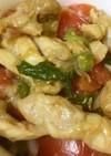 鶏の生姜焼きとトマトの新玉サラダ丼♫