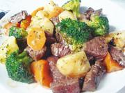 牛赤身肉とゴロゴロ野菜のバター焼きの写真