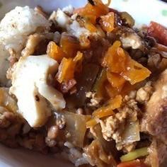 納豆と厚揚げのカレー風味まぜご飯