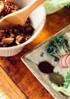 納豆と辣肉味噌のレタス包み
