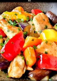 鶏むね肉とカラフル野菜の黒酢炒め