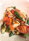 鶏と夏野菜の塩麹炒め〜葉わさびジェノベ♪