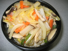 スープの素で☆あっという間に中華丼