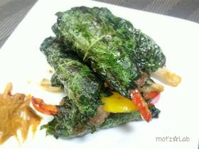 大葉で包んで♪野菜の肉巻きハンバーグ風