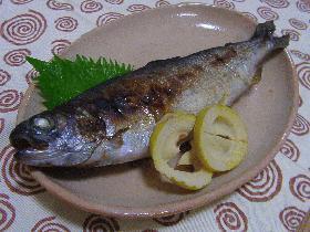 虹鱒の舞茸味噌焼き