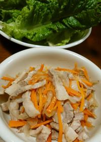 豚肉バラと野菜の塩ダレ炒め!サンチュ巻♡