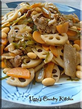 大豆と根菜のめっちゃ簡単煮