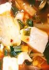 あさりとホタテ缶でチゲ風スープ