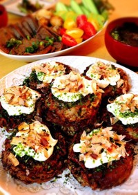 高野豆腐と自然薯の低糖質お好み焼き
