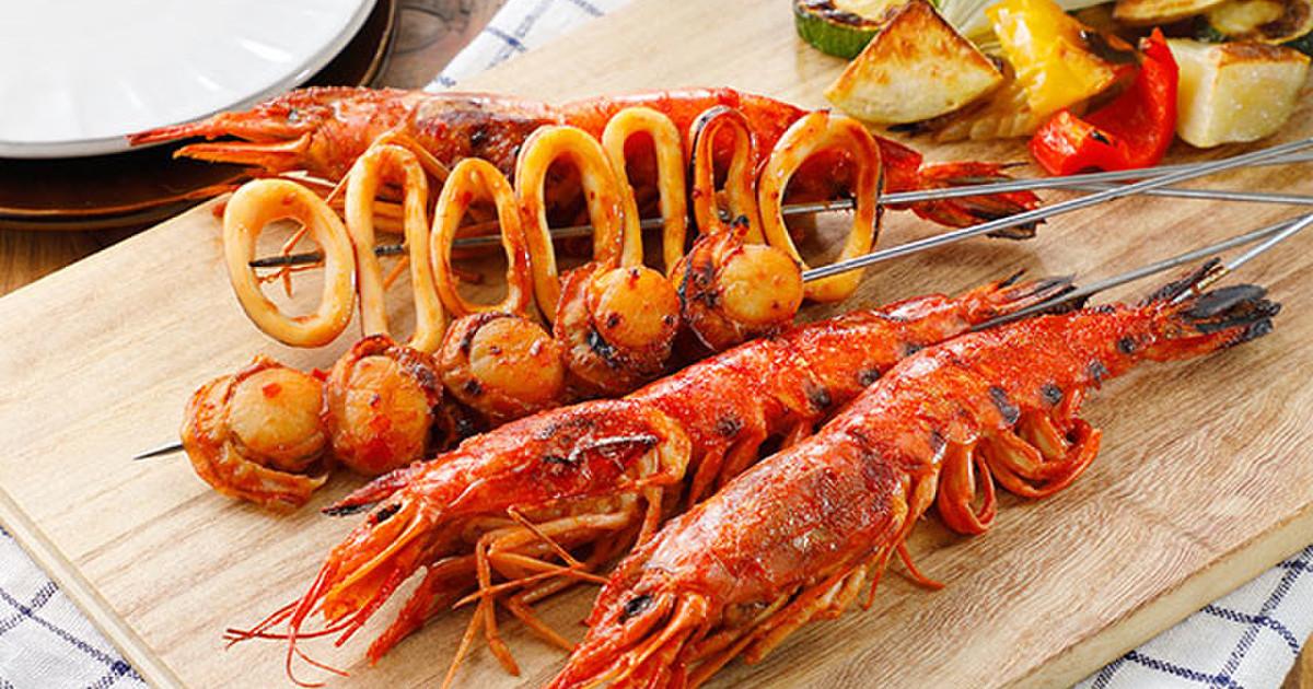 BBQに!えびチリ風ピリ辛海鮮串焼き
