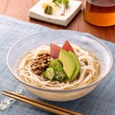 マグロとアボガドの冷し温麺(うーめん)